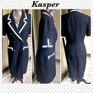Vintage Kasper Career Dress Nautical Style Size 6
